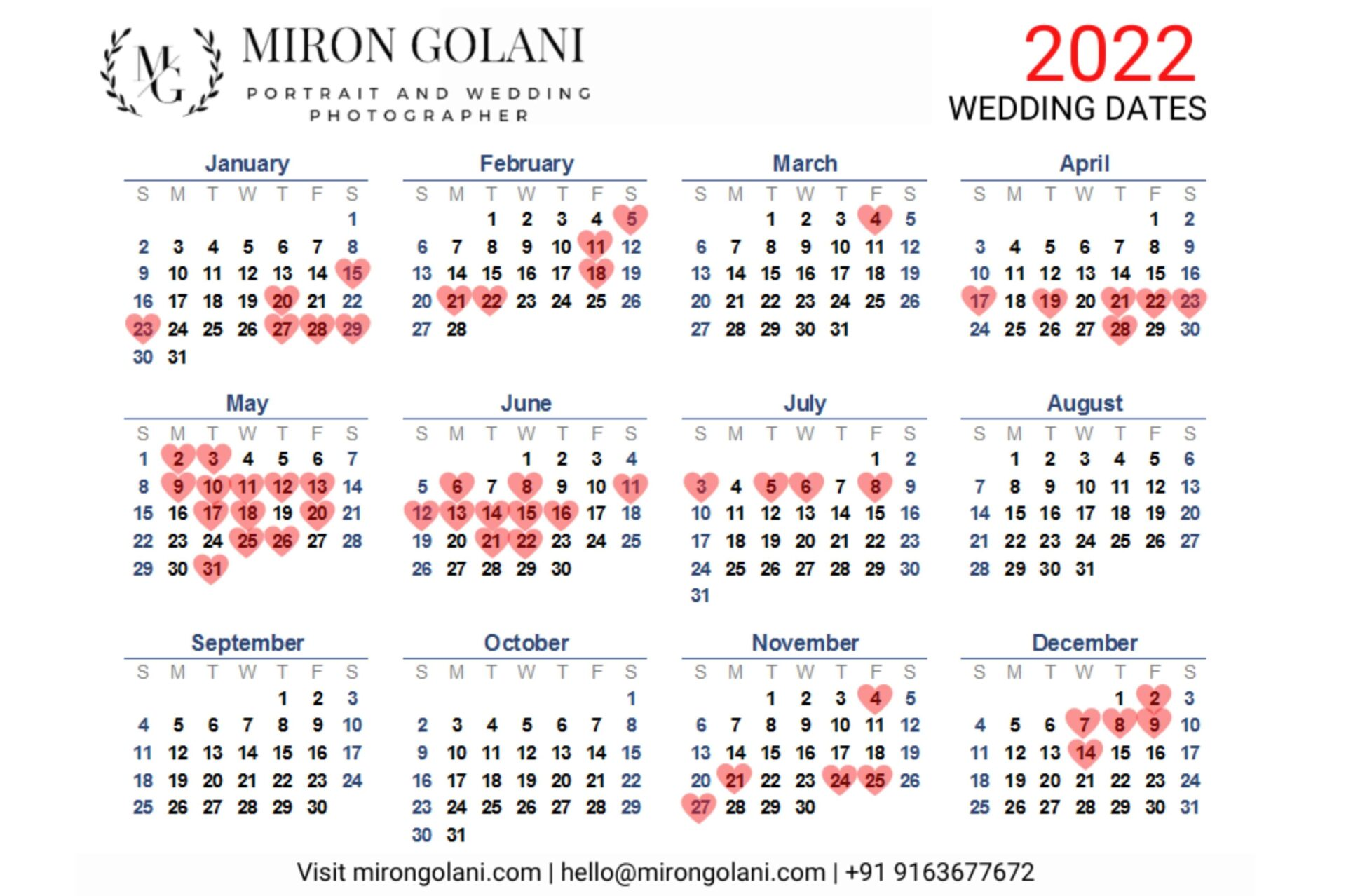 Auspicious Marriage Dates in 2022 - Wedding Dates in 2022 - Miron Golani's Photography